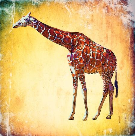 기린 빈티지 예술 그림