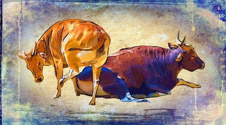 animales safari: Buffalo arte de la ilustración de la vendimia Foto de archivo