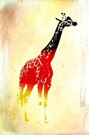aquarell: Giraffe flags isolated on vintage background