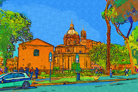 archaeological: Rome Italy art illustration