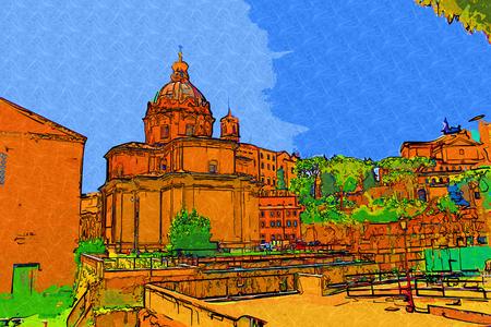 archaeological: Rome Italy art illustration