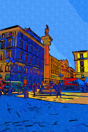 historic: Florence, Italy art illustration
