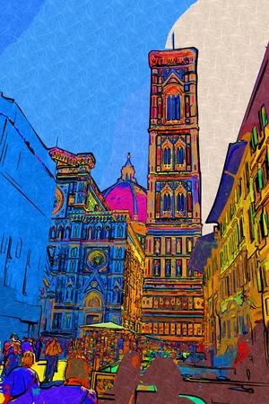Florence, Italy art illustration