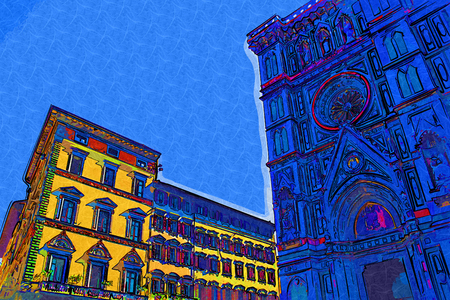 florence   italy: Florence, Italy art illustration