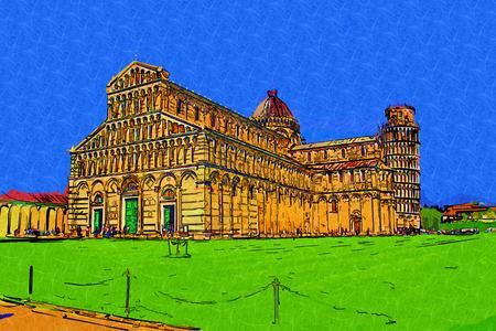 Pisa Italy art illustration