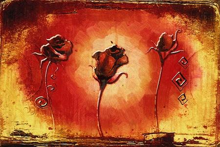 예술 그림 꽃과 빈티지 유화