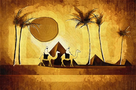 happiness people silhouette on the sunset: African ethnic retro vintage illustration