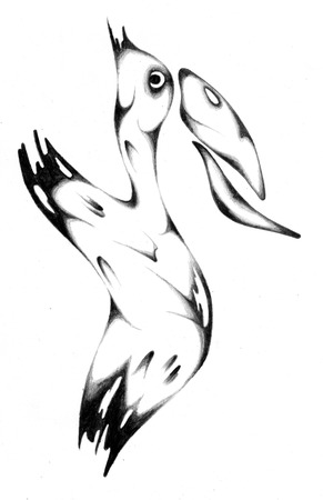 freaky: Abstract drawing black pencil with structure