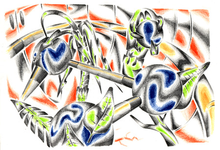 fantastical: Abstract drawing black pencil with structure