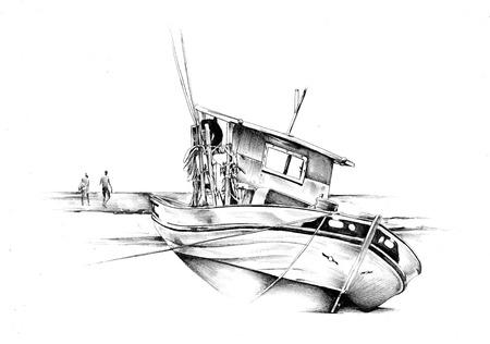 motorizado: Nave en el mar o el océano ilustración del arte Foto de archivo