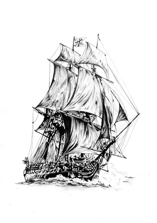motorboat: Ship on the sea or ocean art illustration Stock Photo