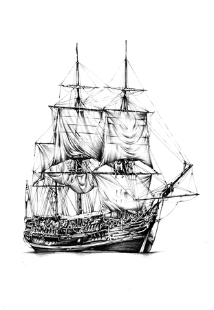 Ship on the sea or ocean art illustration Stock Photo