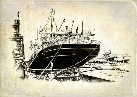 Vintage ship on the sea or ocean art illustration Stock Photo