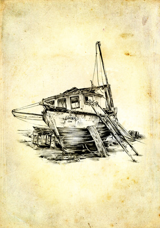 vintage ship: Vintage ship on the sea or ocean art illustration Stock Photo