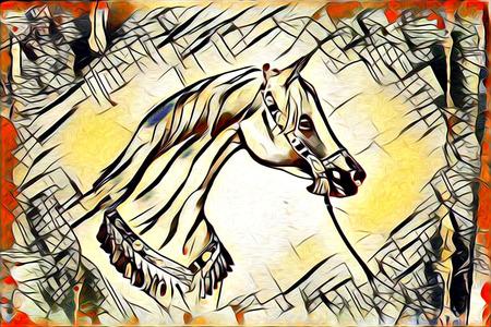 Peinture à l'huile originale d'un cheval arabe amende Banque d'images - 66497130
