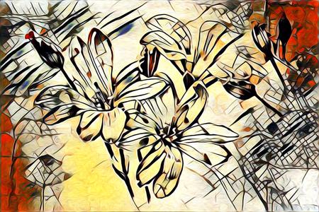 Abstrakte Blumen Öle Malerei - Kunst Illustration Standard-Bild