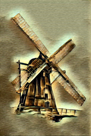 mill valley: windmill old retro vintage painting Stock Photo