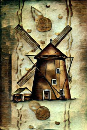 windmill old retro vintage painting Stock Photo