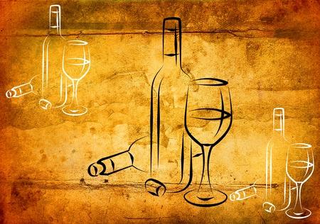 Wine art illustration on a creative background 写真素材