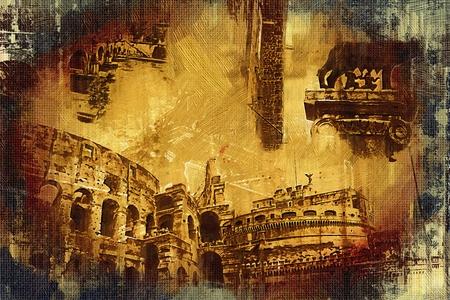 roman column: Rome Italy art illustration
