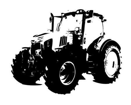 Agricultural tractor illustration art Stock Photo