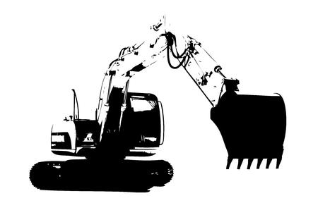 Excavator illustration isolated art work Stock Photo