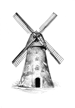 Windmolen oude retro vintage tekening Stockfoto