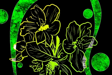 worn paper: Vintage background with art illustration flower Stock Photo