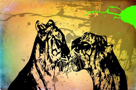 silueta de gato: Tiger art illustration color
