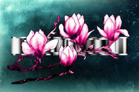 Vintage background with art illustration flower Stock Photo
