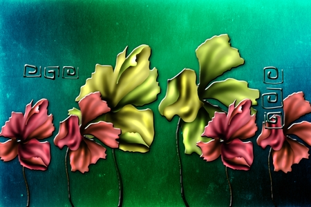 Vintage background with art illustration flower Stock Photo