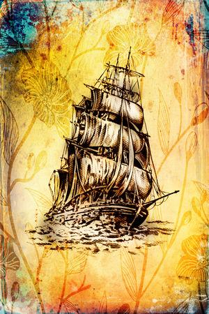 Ship on the sea or ocean art illustration Stock Photo