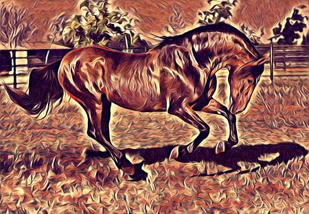 freehand horse art illustration paint Stock Photo