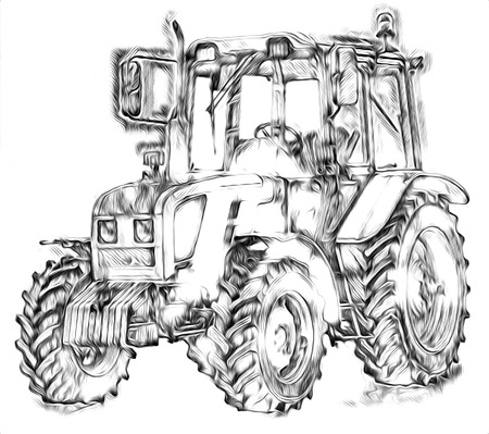 Agricultural tractor color illustration art Stock Photo