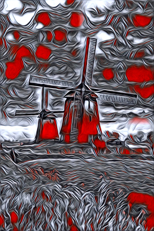 windmill old retro vintage art painting Stock Photo
