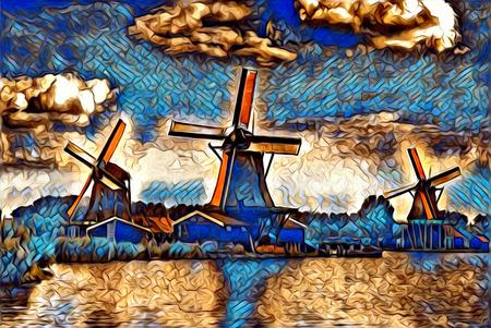 windmill old retro vintage art painting Stock Photo
