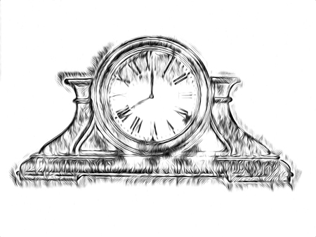 Antique clock retro drawing illustration