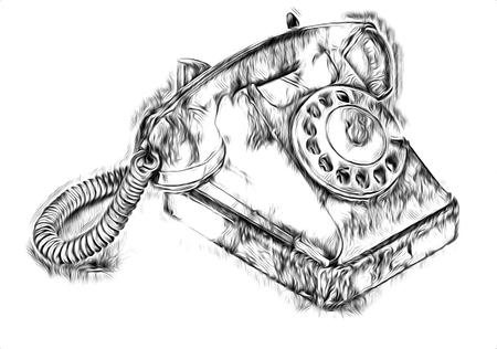 Antique telephone retro drawing art