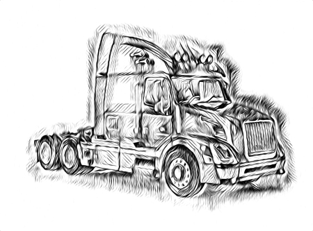 American truck illustration isolated art