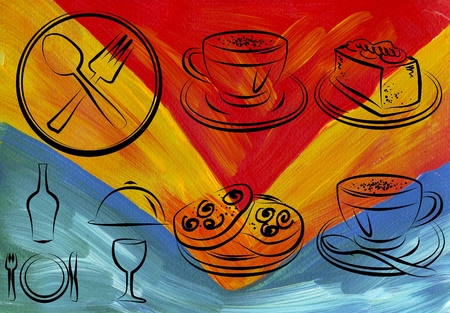 Cup of hot coffee art illustration
