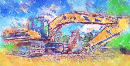 Excavator illustration color art design