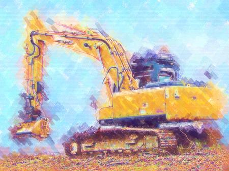 Excavator illustration color art design Stock Photo