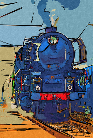 old steam locomotive engine retro vintage