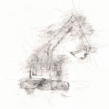 Excavator isolated art work Stockfoto