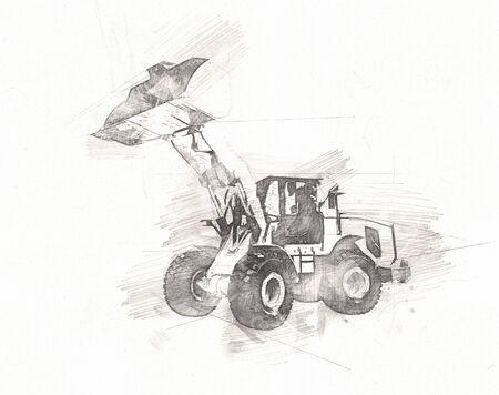Excavator isolated art work