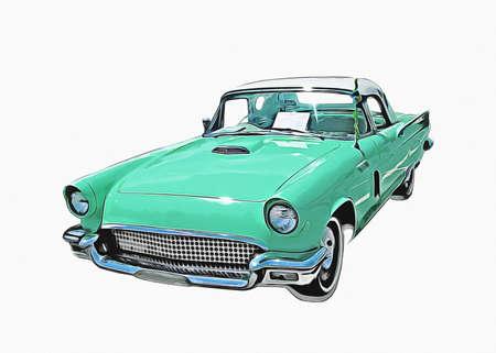 Vintage Retro Classic Old Car Illustration
