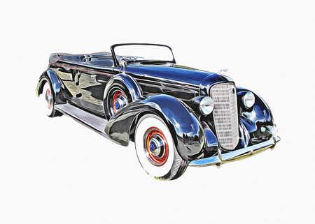 Vintage Retro Classic Old Car Illustration Stock fotó