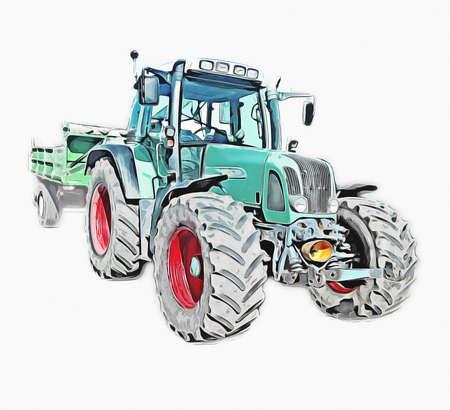 Agricultural tractor illustration color art vintage antique funny