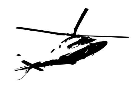military helicopter drawing illustration art vintage Standard-Bild