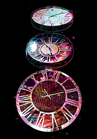 The dials of the old antique classic clocks on a vintage paper background 版權商用圖片
